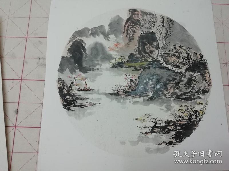无款国画水墨山水斗方12(画芯直径约32cm)