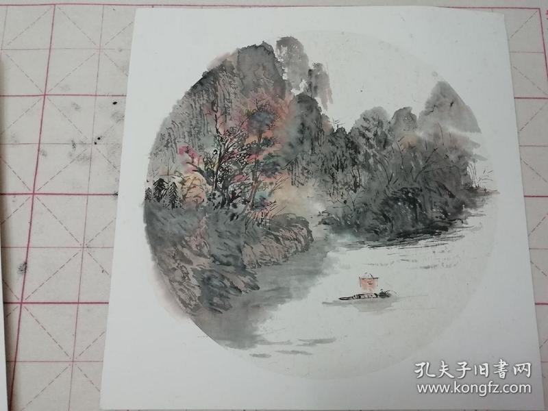 无款国画水墨山水斗方13(画芯直径约32cm)