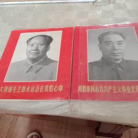 毛主席,周恩来战斗的一生。彩色画册二册合售