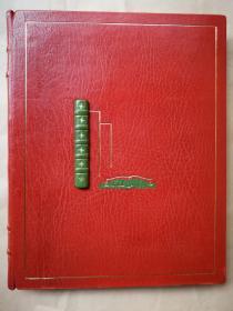 1982年  摩洛哥双色全羊皮镶嵌皮装 烫金纹饰 竹节书脊《情色文学史》 带比利时艺术家Julian Jordanov藏书票《金驴记》一枚