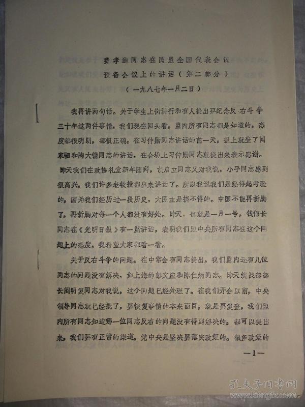 费孝通同志在民盟全国代表会议预备会议上的讲话(第二部分)1987年