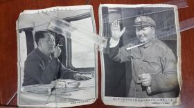 文革 杭州东方红丝织产品,毛主席军装在城楼招手,毛主席在飞机上,均为抽烟形象
