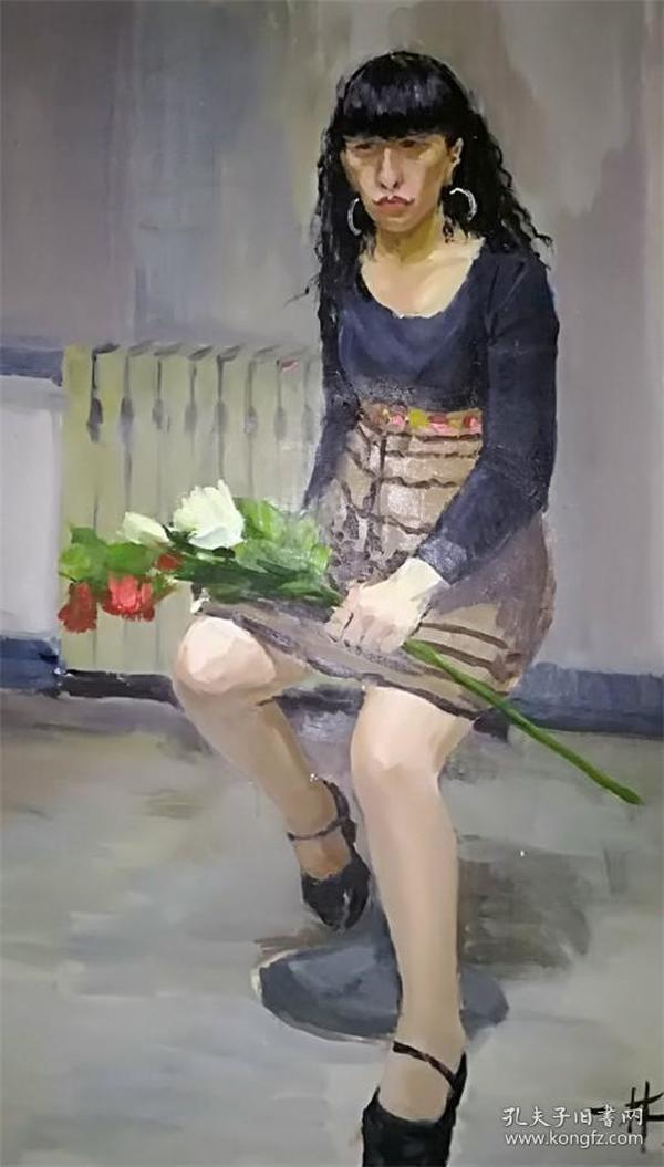 著名油画家布面油画《花季》