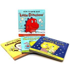 英文绘本how to 幼儿生活自理系列4册套装1-3-6岁儿童生活习惯养成 How to Bath Your Little Dinosaur