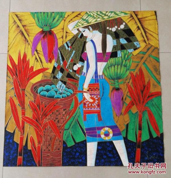 丁绍光艺术研究会女画家安妮【彩云之南风情】金粉手绘纸本人物画,极具艺术价值【保真】
