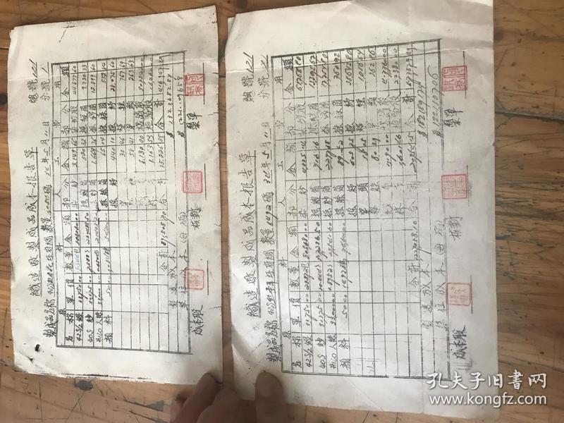 2671:民国34年《织造厂制成品成本报告单 有铃印 2张》 反面是立志愿书人