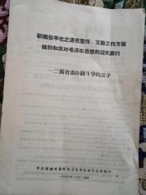 文革资料: 初揭张平化之流在宣传、文教工作方面抵制和反对毛泽东思想的滔天罪行——二揭省委阶级斗争的盖子