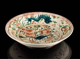 明代漳州窑 红绿彩大盘 大明赤绘 传世品日本直邮