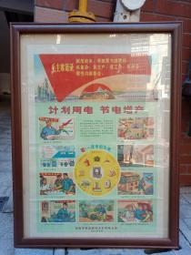湖南省文革老宣传画《计划用电节约用电安全用电》1971年的对开--内容完整 ====带毛主席语录