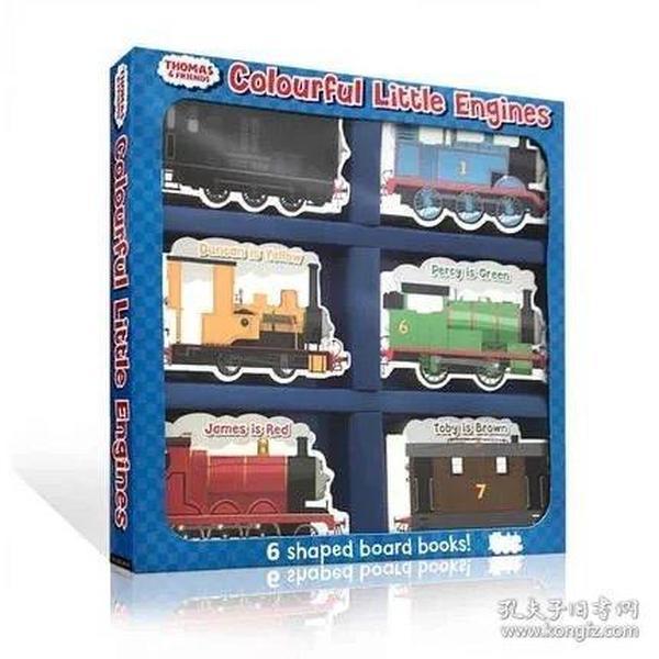 托马斯和他的朋友们英文原版绘本Thomas and Friends Colourful Little Engines 6个小车子造型纸板书低幼儿童启蒙入门玩具书