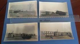 1925大沽河上修建铁路过程组照,26张,纸质薄,像蛋白照片