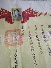 1952年浙江省树范中学毕业证书,有毛泽东头像,有校长书法家 教育家篆刻家余鸿业亲笔签名钤印,有浙江省人民政府文教厅大印,钢印私章等,有女学生毕业黑白照片,少见