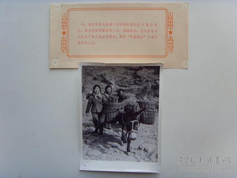 老照片:【※1966年,北京市房山县周口店供销社,女售货员赶毛驴上山送货※】