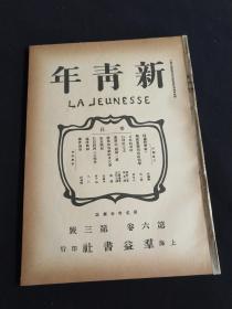 新青年第六卷第三号,民国旧书,民国期刊周刊,共产党旧刊,博物馆资料