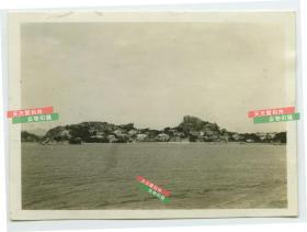 民国时期福建厦门鼓浪屿海岸全景老照片泛银
