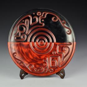 木胎漆器刻花盘子摆件