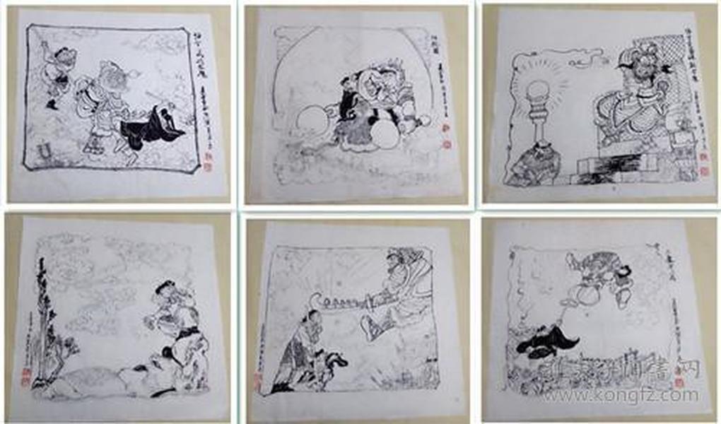 西游记狮驼国白描六张合售[夏书玉老师国画]-其他名家老师国画 沪上彩