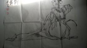 年代不详-中美协青海分会副主席马西光作《剑舞》人物画(保真)