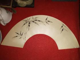 民国时期,日本文人墨竹扇面一张