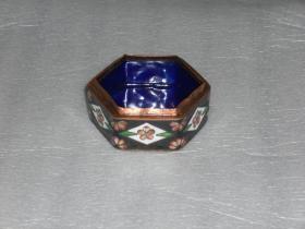 景泰蓝紫铜胎六角胭脂盒粉盒(缺盖)