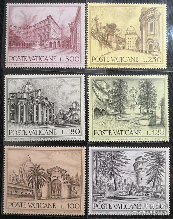 梵蒂冈1976年  教堂建筑喷泉等6全新  大型雕刻版 实拍