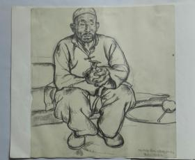 高天华素描写生(1980)-人物肖像。法籍画家中央美院78级画家高天华