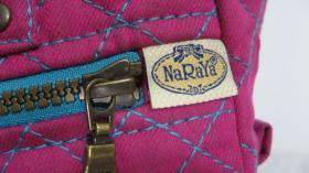 【杂245】[Na Ra Ya]玫瑰红布女装手提包   长29宽9高20厘米 品相保管完好