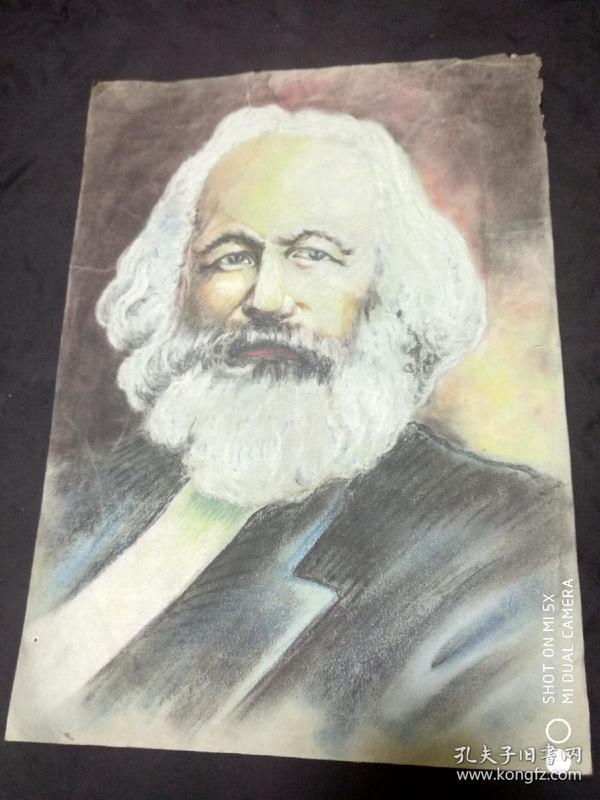 民国或50年代水粉画:马克思肖像