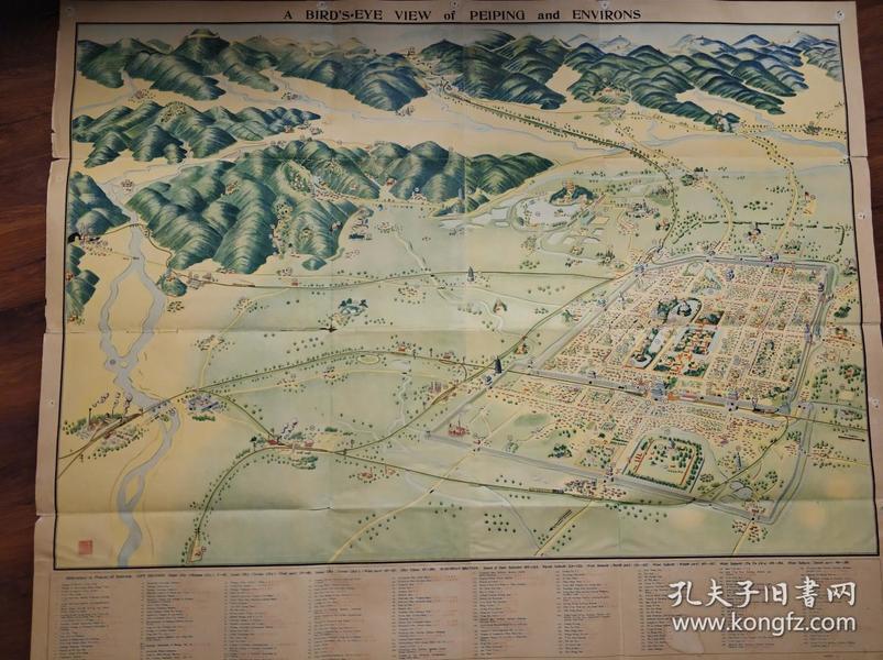 民国二十五年北京地图(鸟瞰北平及其周边环境)