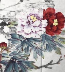 孙来喜 河南省美术家协会会员四尺斗方国画写意牡丹精品 2 倾国姿态 68 68cm