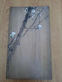 日本书家【琼浦西厓】手书《饮中八仙歌》一帖,木夹板经折帖,前后夹板各手绘有精美【梅图】【石芝图】一幅