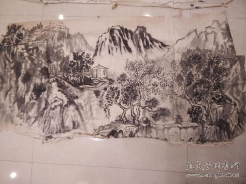 大幅民国末年建国初期。《shui水墨山水文人情怀m》委托人急售。水平高,画心60*130。纯手绘纯手绘