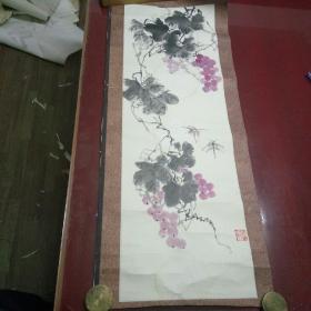"""国画:辽宁牡丹王,著名画家""""张韶华""""水墨画《葡萄蜻蜓》"""