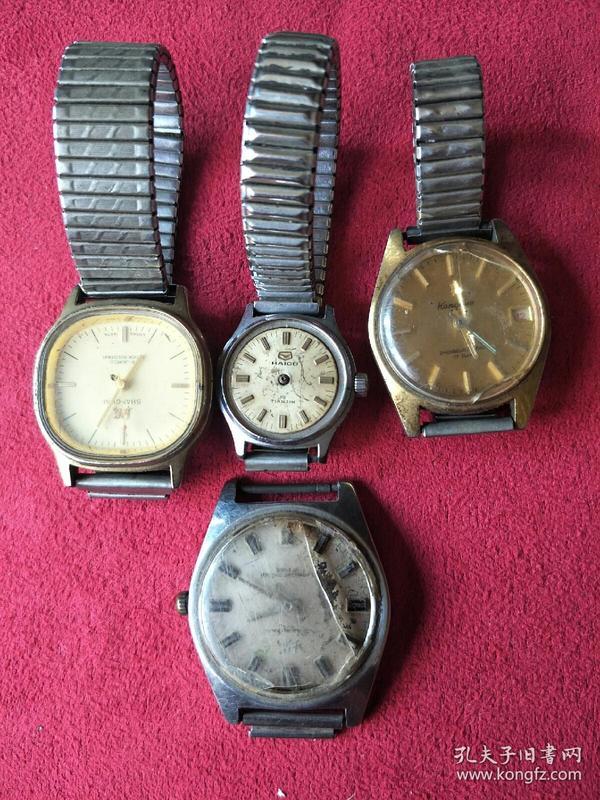 自己家的四块老手表一起出,具体品牌我也记不住了,详情看图!都不能正常使用,需要去手表店维修哦。
