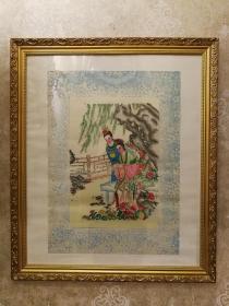 六十年代杨柳青套色木板年画红楼梦贾宝玉和林黛玉