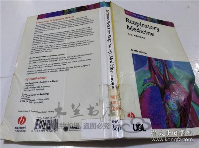 原版英法德意等外文书 LECTURE NOTES ON Respiratory Medicine S.J.BOURKE Blackwell 1988年 大32开软精装