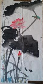 """中央美术学院教授、花鸟画室主任金鸿钧""""荷花""""水墨画"""