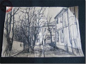 【小院秋意】,早期钢笔小品画,作者 袁丹。尺寸(长×宽):20.0厘米×13.1厘米。