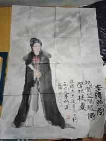 中国美协会员--曾任湖南省美术家协会副主席,长沙市美协主席 徐芝麟作品《李清照》尺寸94×67厘米----议价销售