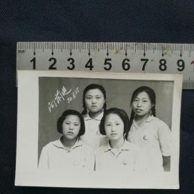 文革特色老照片【四个戴毛像章的青年女生】  布纹  尺寸9*6cm