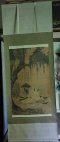 1980年代故宫博物院印刷挂轴(157*64CM):宋人柳荫高士图