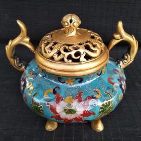 景泰蓝熏香炉尺寸如图,重1700克