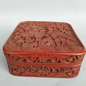 剔红《花开富贵》四方漆器盒 尺寸重量如图