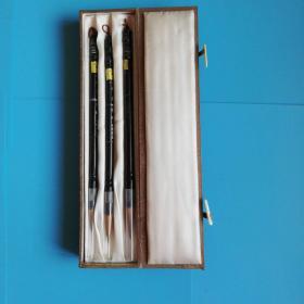 八十年代外贸出口泰山牌承古遗制牛角杆毛笔一号.二号.三号一套【锦盒原包装】