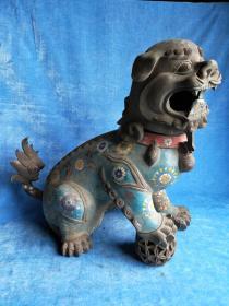 重量级大件,原包浆,早期收藏,景泰蓝超大超重铜狮子,长50公分高47公分,重约30斤