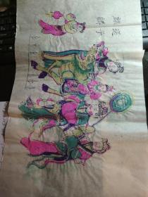 山东曹州木版年画-戏曲人物彩色套印《麒麟送子》