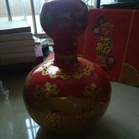 大红衬通体金色花卉大肚缸瓷酒瓶