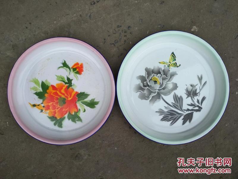 80年代搪瓷花开富贵大盘口径35厘米