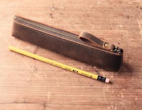 真皮文具笔袋 袋钱包 头层牛皮小巧简约文具袋铅笔圆珠笔钢笔真皮复古 文房四宝
