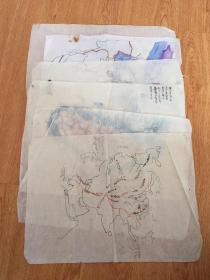 民国日本学生手绘《中国、台湾、亚洲地图》六张